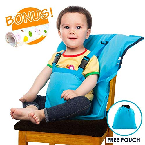Portable High Chair Safety Seat Harness for Baby Feeding Eating with Adjustable Straps Shoulder Belt, Holds Up to 44lbs, Hand Wash Cloth Included