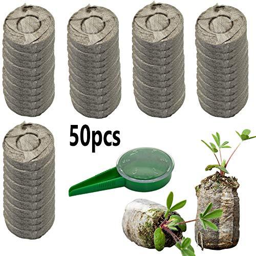 ZeeDix 50 Pcs (40mm) Peat Pellet Fiber Soil Plant Seed Starters – Plugs Pallet Seedling Soil Block, Seed Fertilizer Nutrient Block Compressed Peat Block for Grow Herbs, Plant,Flowers and Vegetables