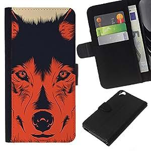 Stuss Case / Funda Carcasa PU de Cuero - Perro Evil Devil Hund Shepard rojo impresiones - HTC Desire 820