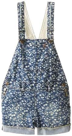 Joe's Jeans Big Girls' Rolled Frayed Short Overall, Indigo/White, 8