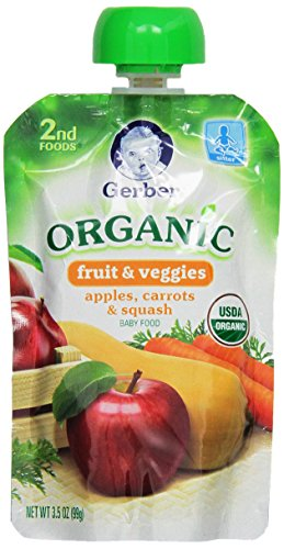 Gerber Organic 2nd Foods Pouches, Apples, Carrots, Squash, 3.5 Ounce, 12 count