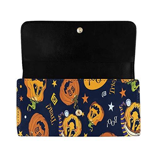 InterestPrint Women's Trifold Clutch Wallets Pumpkins Halloween Card Holder Handbags