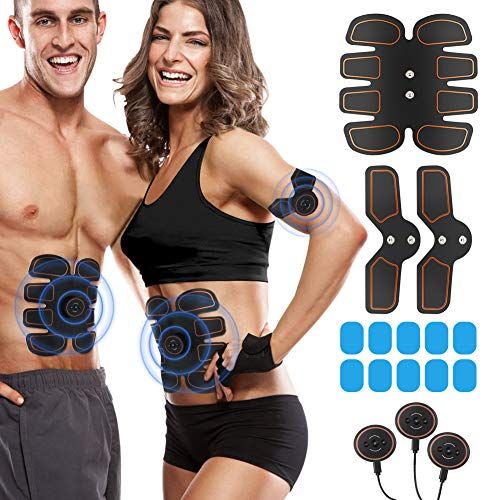ROKOO Muscle Trainer Stimulator Equipment with 10 Gel Pads, Abs Stimulator for Men Women with 6 Modes and 10 Levels of Intensity at Home Gym Office Travel