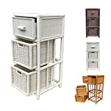 Rattan Nightstand Chest Basket Storage Unit model Dennis with Drawer (White)