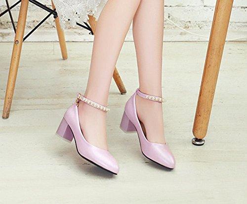 Mee Shoes Damen Blockabsatz ankle strap Schnalle Pumps Pink