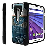 Untouchble Case for Motorola Moto Droid Maxx 2, Moto X-Play Case[Traveler Series]- Dual Layer Hard Plastic Inner Silicone Stand Case - Zen Wave