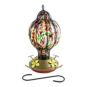 Best Home Products Hummingbird Feeder with Perch - Blown Glass Feeders - Rainbow Treat