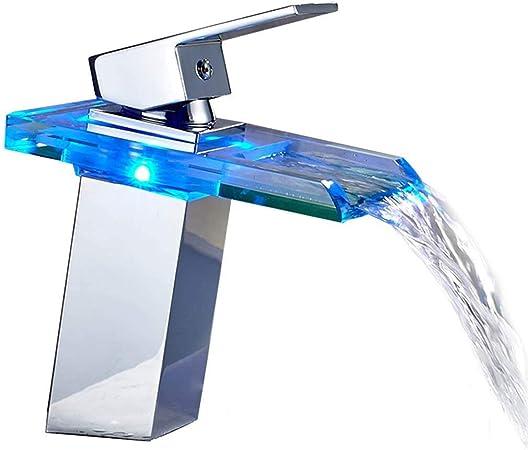 Auralum Robinet LED Cascade en Verre avec Changement de Couleur RVB pour Salle de Bain Lavabo WC Chrom/é