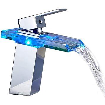 Auralum® Mitigeur Lavabo Robinetterie LED RVB Cascade pour Vasque de Salle  de Bain en Laiton 075b21adc8b9