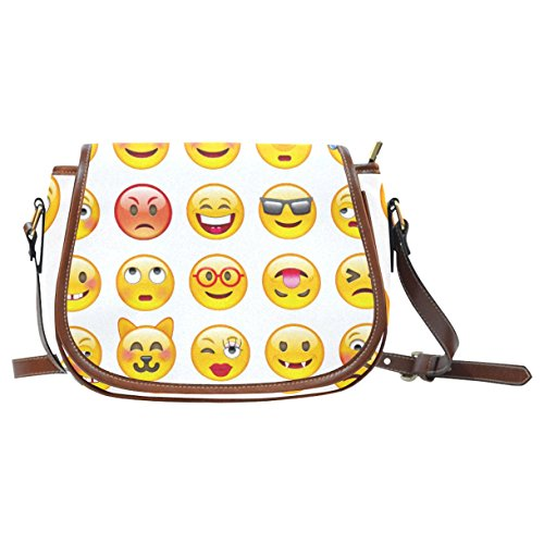 InterestPrint Hipster Emoji White Messenger Crossbody Travel Shoulder Saddle Bag Purse