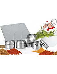 CheckOut 6 Pcs Magnetic Spice Tins Kitchen Stainless Steel Round Spice Jars with Stainless Trestle Rack compare