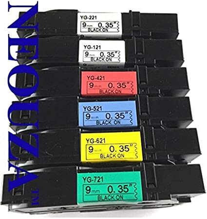 """5PK 9mm TZe TZ 221 421 521 621 721 Label Tape For Brother P-touch 9MM 0.35/"""""""