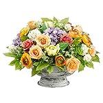 17Hx23Wx22L-Ranunculus-HydrangeaRoseSnowball-in-Metal-Pot-Apricot-Lavender