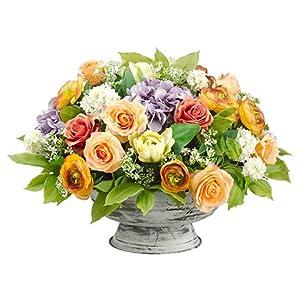 "17""Hx23""Wx22""L Ranunculus/Hydrangea/Rose/Snowball inMetal Pot Apricot Lavender 8"