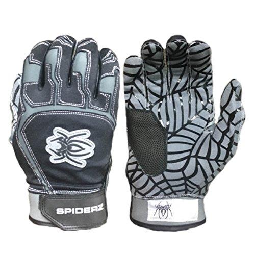Spiderz WEB Baseball Batting Glove with Silicone Spider Web Palm (Grey/Black, Youth Large)