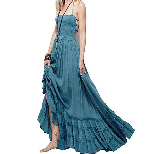 HUIJSNQ Sexy Backless Halter Long Maxi Dress Female Casual Beachwear Women Big Swing Summer Beach Dress robe longue (Dillards Robes)