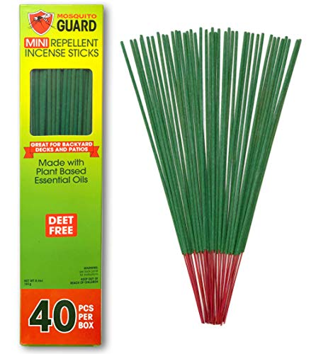 Mosquito Guard Incense Repellent Sticks - Made with Natural Plant Based Ingredients: Citronella, Lemongrass & Rosemary Oil - 40 Pack - Deet Free