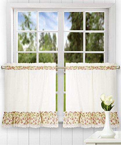 (Ellis Curtain Clarice 58-by-24 Inch Ruffled Tailored Tier Curtains, Red)