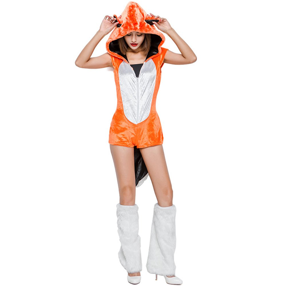KTYX Siamesischer Orange Fox-Kostüm-Halloween-Cosplay Tieruniform-Satz Halloween Kleider