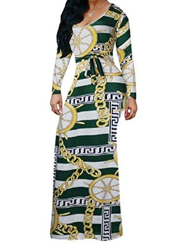 Coolred-femmes Chaîne Tunique Imprimée À Manches Longues Africaine Vert Robe Longue