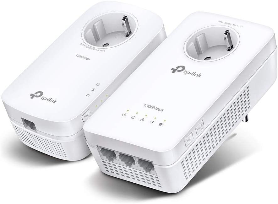 TP-Link TL-WPA8631P Kit - Repetidor WiFi PLC, Powerline WiFi AC1200 en 2.4GHz/5GHz, 3xPuerto Gigabit + 1xPuerto Gigabit, Enchufe Integrado, 2X2 MIMO, ...