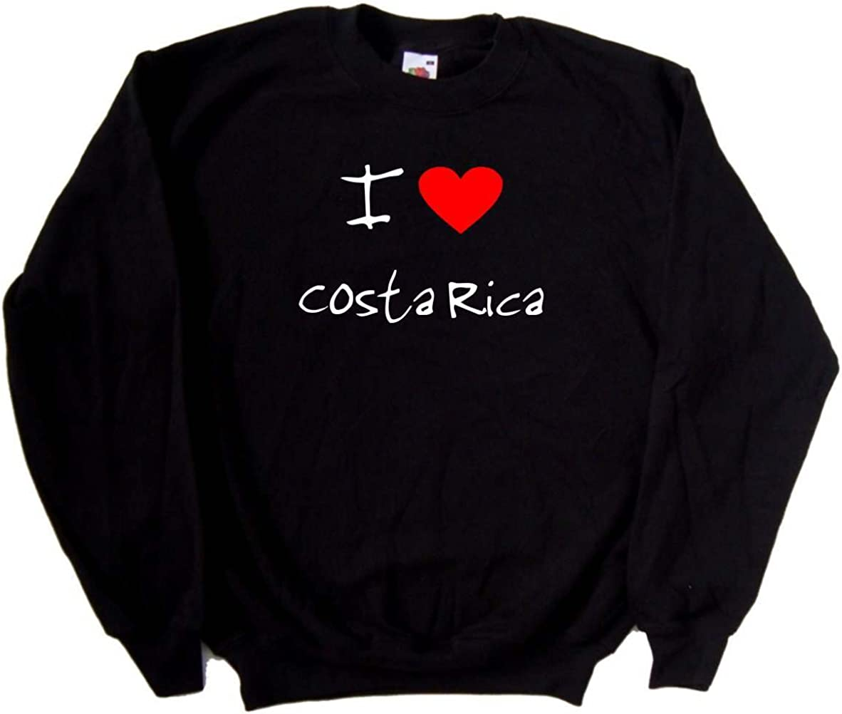 I Love Heart Costa Rica Black Sweatshirt