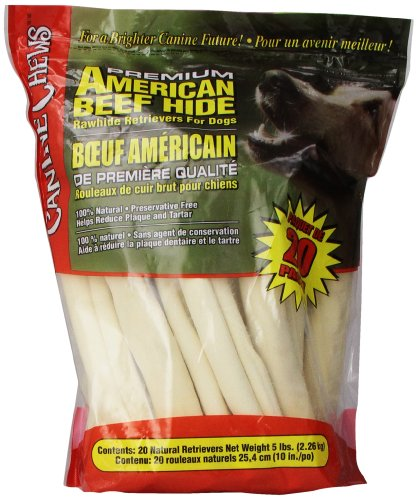 Beef Retriever Rolls - Premium American Beef Hide Natural Rawhide 20 Pack 10 Inches