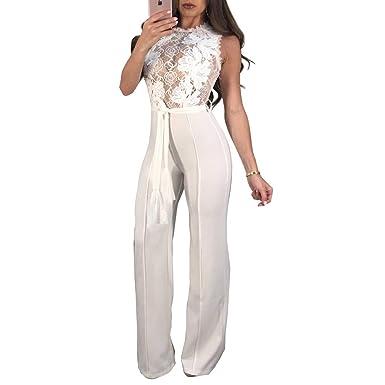 AllForYou Donna Jumpsuit Pantaloni Lunghi Pizzo Playsuit Tuta Senza Maniche  Gamba Larga Eleganti Jumpsuit da Cerimonia c7f7a90e6d4