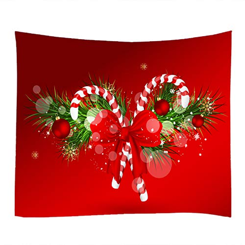 Red Christmas Candy Print Decorative Throw Fabric Tapestry Wall Hanging Art Decor for Living Room and Bedroom 91x71 inches -