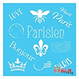 "French Stamp Patterns Stencil - Queen Bee - Fluer De Lis -S (11"" x 11"")"