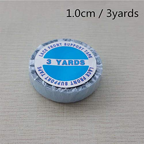 - 3 Yards Lace Front Wig Support Tape, 1.0cm Wide Strong Adhesive Double Sided Blue Liner Hair Replacement Tape for Tape in Hair Extensions Toupees Beards and Wigs Water-Proof(1 roll 1.0cm3yards)