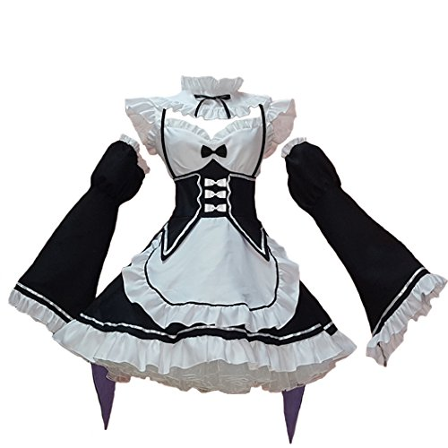 Ainiel Women's Maid Costume Anime Cosplay Lolita Fancy Dress Stockings Headwear(Small)