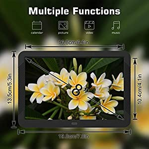 Digital Photo Frame 8 Inch NAPATEK Digital Picture Frame 1920×1080 High Resolution 16:9 FHD IPS Screen Image Preview Video Calendar Clock Auto On/Off Timer Support USB and SD Card Remote Control