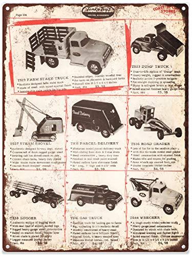 Yilooom 1957 Tonka Toy Truck Loader Tow Tanker Wrecker Ad Metal Sign Repro 12