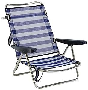 Alco 607ALF-0056 - Silla playa aluminio fibreline, con asa, Azul/Blanco, 720 x 650 x 150 mm, 1 unidad: Amazon.es: Juguetes y juegos