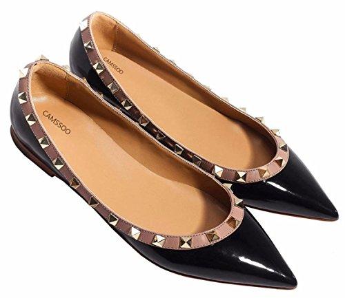 CAMSSOO Womens Classic Rivets Pointy Toe Slip On Comfort Flats Dress Pumps Shoes
