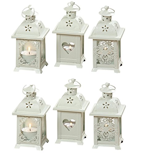 Whole House Worlds The Romantic French Country Style Hearts, Flowers and Lace, Candle Lanterns, Set of 6, for LED Tea Lights, 2 ¾ x 2 ¾ x 5 ½ Inches (7x7x14cm), Metal and Glass, By (Lantern Lace)