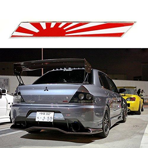 1x JDM Japan Rising Sun Flag Emblem Plate Badge For Front Grille Side Fender Trunk ()