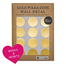 Gold Dots Wall Decal (210 Dots & 8 Heart Decals) , Nursery Wall Decals Removable Metallic Vinyl Polka Dot Decor | 2 Round Circle and 3 Heart Sticker Set for Home ,Party, Shop or Window by LIDERSTAR