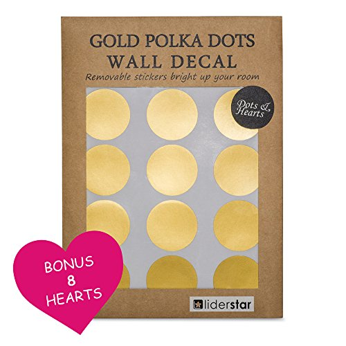"Gold Dots Wall Decal (210 Dots & 8 Heart Decals) , Nursery Wall Decals Removable Metallic Vinyl Polka Dot Decor | 2"" Round Circle and 3"" Heart Sticker Set for Home ,Party, Shop or Window by LIDERSTAR"