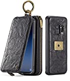 S9 Case, Galaxy S9 Flip Wallet Leather Case, XRPow Samsung S9 Magnetic Detachable Wallet Folio Case Multiple Card Slots Protective Cover for Samsung Galaxy S9 (Black)