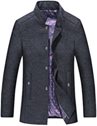 Men's Stylish Squared Collar Single Breasted Mid-Weight Wool Blend Peacoats