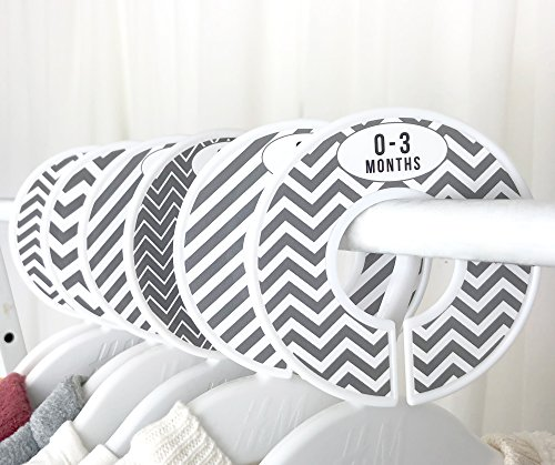 Delicush Baby Closet Dividers, Stripe, Chevron, Set of 6 Size Organizers, Nursery Closet Organizers, Baby Size Dividers, Glossy Finish, Boy, Girl (Grey) by DELICUSH (Image #1)