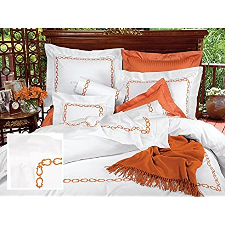 La Cha Ne Luxury Bedding Sheet Sets Full 100 Egyptian Cotton Sateen 1 Flat 1 Fitted 2 Std Shams Terracotta