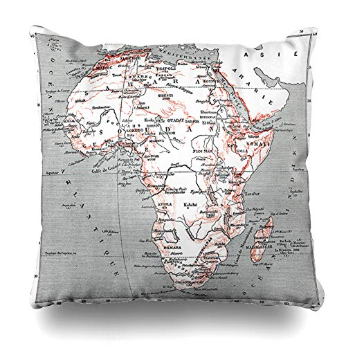 """Ahawoso Throw Pillow Cover Atlas Map Africa Vintage Engraved Dictionary Antique Words Things Larive Fleury Design History Decorative Pillowcase Square Size 18""""x18"""" Home Decor Sofa Cushion Case"""