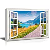Canvas Prints Wall Art - 3D Visual Effect View Through Window Frame A Lane by The Lake in The Mountain Gallery 28'' x 40'' inches