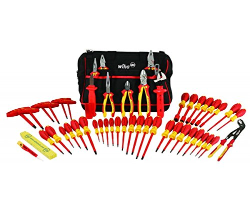 Wiha 32874 Insulated Tool Set with Pliers, Cutters, Nut Drivers, Screwdrivers, T Handles, Knife, Ruler and Voltage detector, 50 Piece Set in Canvas Tool - High Voltage Set