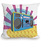 Throw Pillow Cushion Cover,70s Party Decorations,Retro Boom Box in Pop Art Manner Dance Music Colorful Composition Decorative,Multicolor,Decorative Square Accent Pillow Case