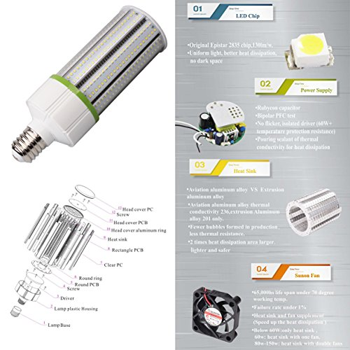 Dephen 60w Led Corn Light Bulb Mogul E39 Led Bulbs 5700k