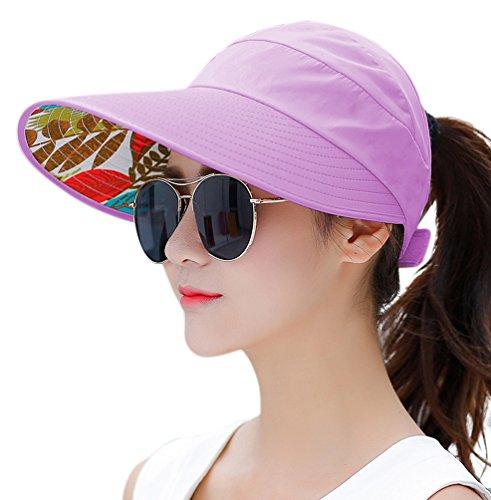 (HINDAWI Sun Hats for Women Wide Brim Sun Hat UV Protection Visor Floppy Summer Packable Cap Light Purple)